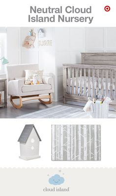 Looking to create a gender-neutral nursery? Look no further than Cloud Island, new and only at Target. Neutral colors don't have to be bland or boring. You can create a soothing, peaceful nursery by mixing and matching a variety of prints and patterns in a neutral palette. Simply mix whites, grays and khakis with modern wooden elements for a sophisticated look. Like these sheets and blankets—soft and cozy for Baby. Stylish and on-point with your unique style.