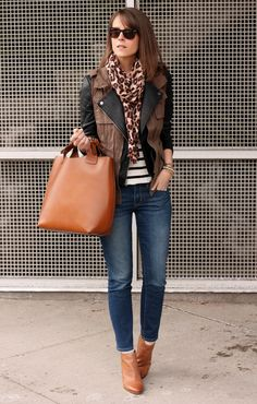 striped tee + moto jacket + cargo vest + leopard scarf.   I love how these basics look when put together.  I have pieces similar to these in my closet and am totally trying this outfit sometime soon!