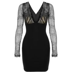 La Perla Cocktail Looks Black Short Wool & Leavers Lace Dress with... ($1,595) ❤ liked on Polyvore featuring dresses, cocktail dresses, short sleeve cocktail dresses, long sleeve lace cocktail dress, low cut cocktail dresses and short cocktail dresses