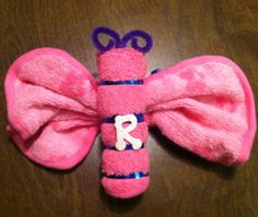 Washcloth butterfly for baby shower :)