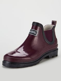 Regatta Lady Harper Ankle Wellington Boots - Burgundy | very.co.uk Baby Phat, High Leg Boots, Long Toes, Cloth Bags, Hunter Boots, Rubber Rain Boots, Snug, Chelsea Boots, Harp