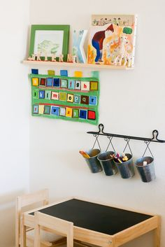 Childrens furniture...love the chalk board table and chalk storage