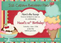 Ice Cream Party Birthday Invitations Printable by WinterVallie, $13.00