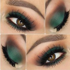 """The Grass is always greener @jennivae used Morphe shadows for this Forrest green makeup look that we can't wait to try!! Follow our #morphegirl"" #greeneyemakeup #makeupideas"