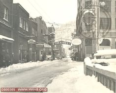 Downtown Welch, WV in snow, circa 1948