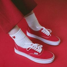 Shop Women's Vans Red White size Shoes at a discounted price at Poshmark. Red Vans Outfit, Socks Outfit, Grunge Style, Soft Grunge, Tokyo Street Fashion, Vans Sneakers, Vans Shoes, Grunge Outfits, Red Outfits