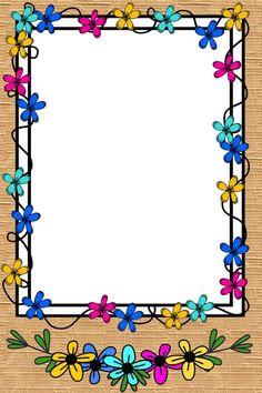 Flower Background Design, Watercolor Flower Background, Wreath Watercolor, Doodle Frames, Frame Floral, Flower Frame, Page Borders Design, Border Design, Diy Crafts Paper Flowers