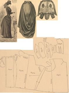 Der Bazar 1889: Blue cloth riding-habit; 1. front skirt part, 2. right side's back part, 3. left side's back part, 4. skirt's internal sitting gore, 5. bodice front part, 6. and 7. side gores, 8. back part, 9. collar in half size, 10. and 11. sleeve parts