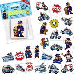 Mini-Tattoo-Set Polizei 24 tlg, Einmaltattoos Motto Polizei, Kindertattoos für Themengeburtstag Polizei als Mitgebsel
