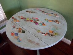"""SOLD -36"""" Aqua Bistro Drop Leaf Table Hand Painted and Distressed Bohemian Decoupaged by savardstudios on Etsy https://www.etsy.com/listing/123246639/sold-36-aqua-bistro-drop-leaf-table-hand"""