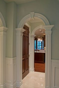 """""""View this Great Traditional Hallway with Chair rail & Arched doorway by Signature Design. Discover & browse thousands of other home design ideas on Zillow Digs. Hardwood Floor Colors, Light Hardwood Floors, Modern Wood Floors, Wood Flooring, Flooring Ideas, Rustic Floors, Amtico Flooring, Door Design, House Design"""