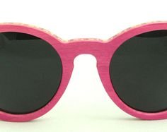 Wooden Sunglasses handmade from upcycled skateboards by Wooden Sunglasses, Eyewear, Upcycle, Trending Outfits, Unique Jewelry, Pink, Vintage, Eyeglasses, Upcycling