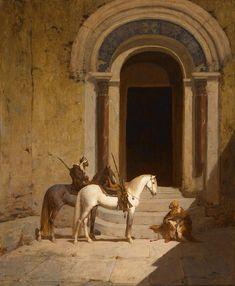 Paul Delamain (1821-1882) La halte des cavaliers arabes Huile sur toile signée en bas à gauche 73 x 60 cm    - Galerie Ary Jan