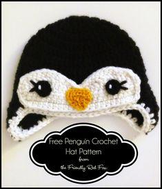 Free Penguin Crochet Hat Pattern - thefriendlyredfox.com Crochet Animal Hats, Crochet Penguin, Crochet Baby Hat Patterns, Crochet Baby Beanie, Crochet Beanie Pattern, Crochet Fox, Chrochet, Crochet Gratis, Free Crochet