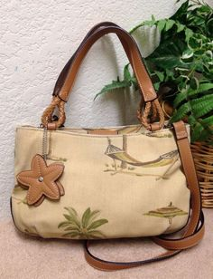 Relic By Fossil Tan Canvas Leather Trim Tote Shoulder Bag Handbag Flower Fob