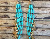 Turquoise seed bead earrings with amber colored beads, long fringe earrings, seed bead earrings, free people, festival fashion, boho fashion