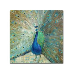 <li>Artist: Danhui Nai</li> <li>Title: 'Blue Peacock on Gold'</li> <li>Product type: Giclee, gallery wrapped</li>