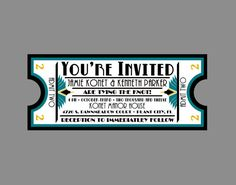 Wedding Invitation   Vintage Antique Art Deco Art Nouveau Border Movie  Ticket Wedding Invitation