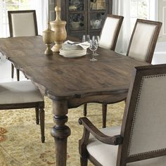 The Pulaski Lucia Leg Dining Table makes a stunning focal point for a more traditional dining room decor. This handsome rectangular table is built from. Dinning Tables And Chairs, Dining Room Table, Dining Set, Accent Furniture, Furniture Decor, Pulaski Furniture, Apartment Furniture, Custom Homes, Room Decor