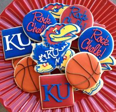 1 DZ Kansas KU Jayhawk Football Basketball Sugar Cookies. $38.00, via Etsy.