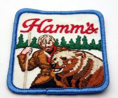 Vintage Hamms Beer Patch with Mountain Man and his Grizzly Bear