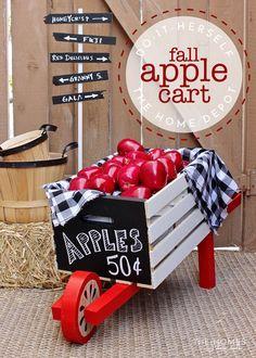 Rustic Wheelbarrow Turned Charming Apple Cart with The Home Depot's Dollar Tree Decor, Dollar Tree Crafts, Dollar Tree Fall, Crate Crafts, Decor Crafts, Truck Crafts, Wood Crafts, Diy Crafts, Rustic Wheelbarrows