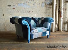 Modern British Handmade Bold Blue Patterned Patchwork Chesterfield Snuggle Chair A Cool Yet Warming Abode Sofas