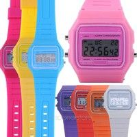 Girls Ladies Women Digital Rubber Silicone Wrist Watch Multi Candy Color Alarm Stopwatch $1.00