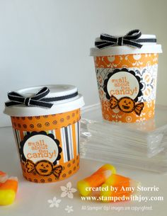Mini Coffe Cup Halloween Treat Amy Storrie, stampedwithjoy.com