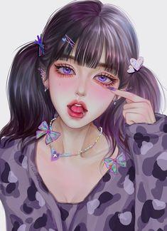 Dark Anime Girl, Manga Anime Girl, Cool Anime Girl, Kawaii Anime Girl, Beautiful Anime Girl, Digital Art Anime, Digital Art Girl, Girly Drawings, Anime Girl Drawings