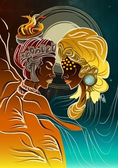Shango/Xangô, Orisha of thunder, and his wife Oshun/Oxum, Orisha of love. By Orádia N.C Porciúncula, Brazil. African Mythology, African Goddess, Orisha, African American Artist, American Artists, Black Anime Characters, Black Art Pictures, Black Love Art, Black Artwork