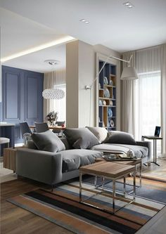 A contemporary apartment in St Petersburg – PLANETE DECO a homes world by flatulenl Interior Design And Build, Apartment Interior Design, Home Interior, Interior Design Living Room, Living Room Designs, Living Room Decor, Design Hall, Classic Dining Room, Contemporary Apartment