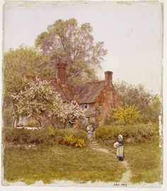 Watercolour: A Cottage at Chiddingfold, Surrey. By Helen Allingham, born 1848