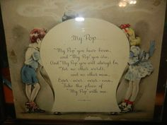 Vintage 1942 framed greeting card with poem and design by graphic artist of the time, Cliff Knoble of Chicago, Illinois. A prolific artist in the
