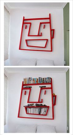 facial bookcase.   How can you not love a bookcase, they always bring a smile.  Even more when said bookcase is in the shape of a face!