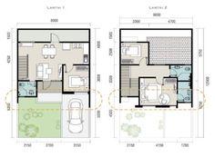 denah rumah 8 x 12 2 lantai