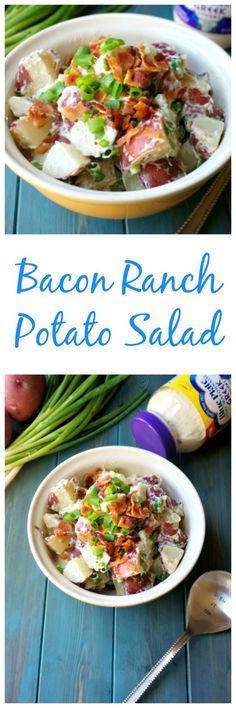 Bacon Ranch Potato Salad: Red potatoes, crispy bacon, sharp scallions, and a homemade Ranch dressing made with Blue Plate® Light Mayonnaise with Greek Yogurt is sure to become your new favorite pot-luck go-to! #BluePlateGreek #ad