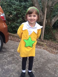 """Star-bellied Sneetch costume for Dr. Seuss Day during """"Read Across America"""" week! Two old t-shirts (one yellow, one white), a bit of green fleece or felt, scissors, and a hot glue gun. Seussical Costumes, 11th Birthday, Old T Shirts, Character Costumes, Day Dresses, My Girl, Little Girls, Dress Up, Dr Suess"""
