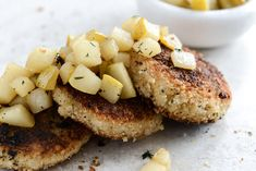 Crispy Goat Cheese Risotto Cakes with Vanilla Salted Winter Pears I How Sweet Eats