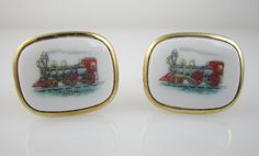Vintage Cufflinks Train Cuff Links Locomotive by LadyandLibrarian, $56.00