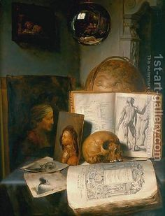 Vanitas Still-Life with a Skull 1635-40 by Simon Luttichuijs