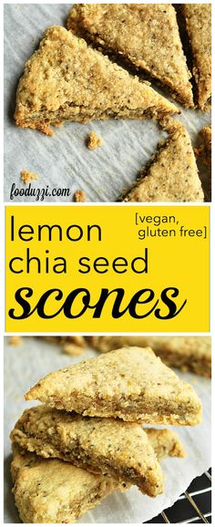 Lemon Chia Seed Scones: perfectly tart and naturally sweetened, these gluten free and vegan scones are simple to make and absolutely delicious! || fooduzzi.com recipes