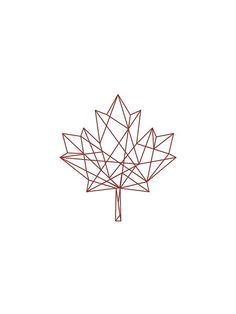 Geomatric Tattoos -                                                              Geometric Print Red on White Geometric Maple Leaf by unikDesignCo
