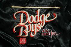 Vintage DODGE BOYS HAVE MORE FUN Satin zip Racing JACKET-Men's Large-LIKE NU-FREE SHIPPING