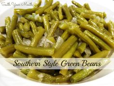 Southern Style Green Beans | Slow Cooked, southern style green beans are one of the vegetables that could call me to the vegetarian altar. I could seriously eat a quart if them. And serve them with a few wedges of skillet cornbread too?? | From: southyourmouth.com