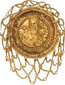 Golden head-dress with relief protome of Artemis. From Thessaly. 3rd c. B.C.
