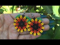 Beaded Earrings, Crochet Earrings, Beaded Bracelets, Bead Loom Patterns, Beading Patterns, Bead Jewellery, Beaded Jewelry, Crochet Flower Tutorial, Bracelet Tutorial