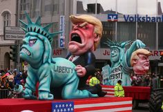 The floats at Karneval parades across southern and western Germany are known for their biting satire. This year the main target of their derision was only ever going to be one man. (via IN PICS: German Carnival floats show Trump no mercy - The Local) Donald Trump, Carnival Floats, Mafia Families, Screwed Up, Political Cartoons, Satire, Word Art, World, Fictional Characters