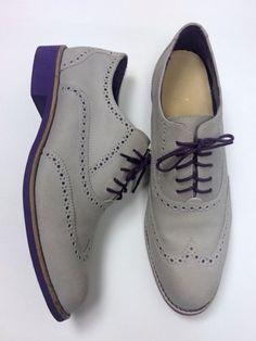 NWOB Cole Haan 11 Gray Grey Purple Suede Oxford Wingtips Flats Vintage Style #ColeHaan #Oxford