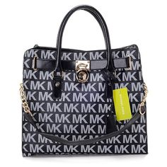 Michael Kors Logo Large Black Totes Outlet
